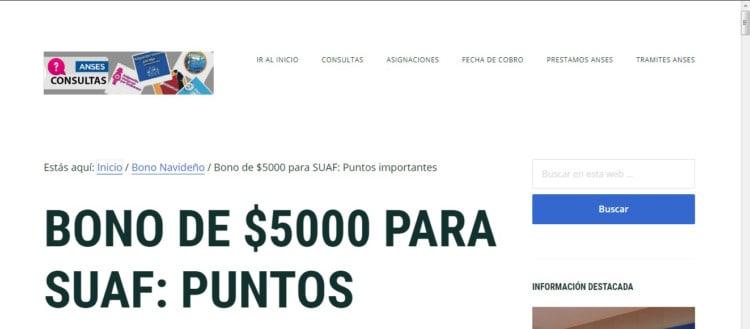 Bono Compensatorio 2018 Suaf