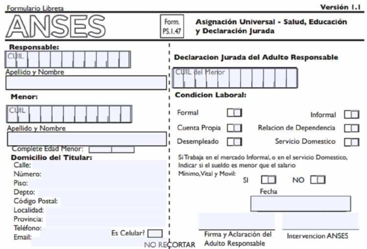 presentar una planilla de ANSES 1.47